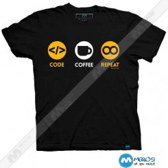تیشرت طرح CODE COFFEE REPEAT