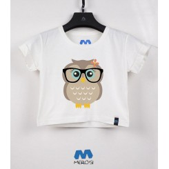 نیم تنه Cut Hipster Girl Owl