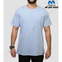 تیشرت های بدون طرح مروسی رنگ ملانژ آبی
