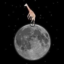 تیشرت Giraffe on a Unicycle on the Moon
