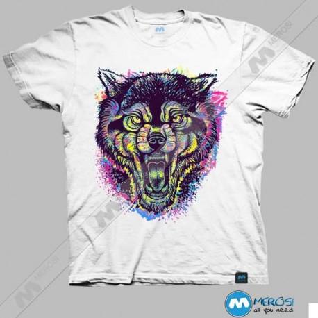 تیشرت طرح Neotraditional Wolf Full Color