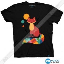 تیشرت طرح Rainbow Fox