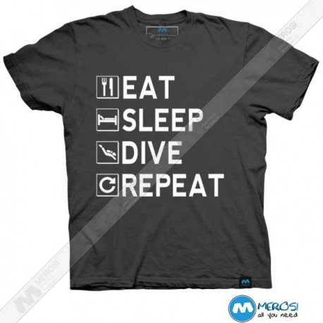 تیشرت طرح Eat - Sleep - Dive - Repeat
